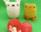 bunny & bird egg holder cups - crochet pattern - PDF