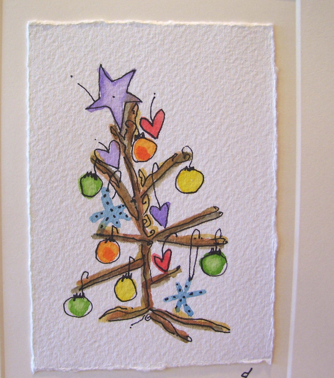 Watercolor card christmas ee cummings little tree for Painted christmas cards