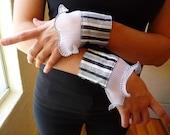 Wrist Cuffs, Handmade Cuffs, Set of Two, Vintage Fabric, Black White Stripe, Vintage Trim,Silver Anchor Buttons,Unique Bracelets,Accessories