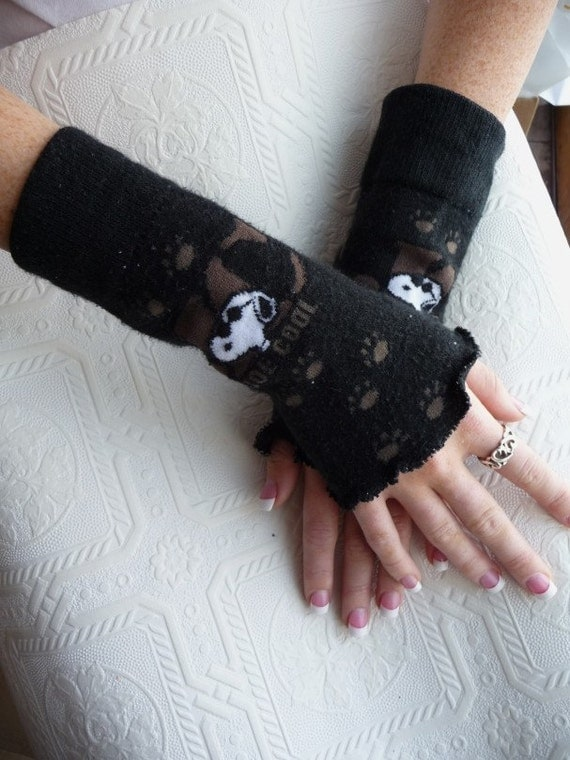 Fingerless Gloves Handmade Arm Warmers Wrist Warmers Snoopy Joe Cool Black Wrist Warmers Set of Two Handmade Recycled Stretchy Paw Prints