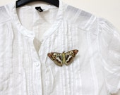Butterfly series beige brown white and orange butterfly brooch