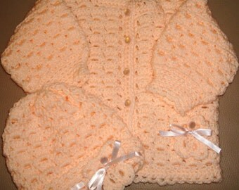 Crochet Sweater and Cap Set                  FREE SHIPPING