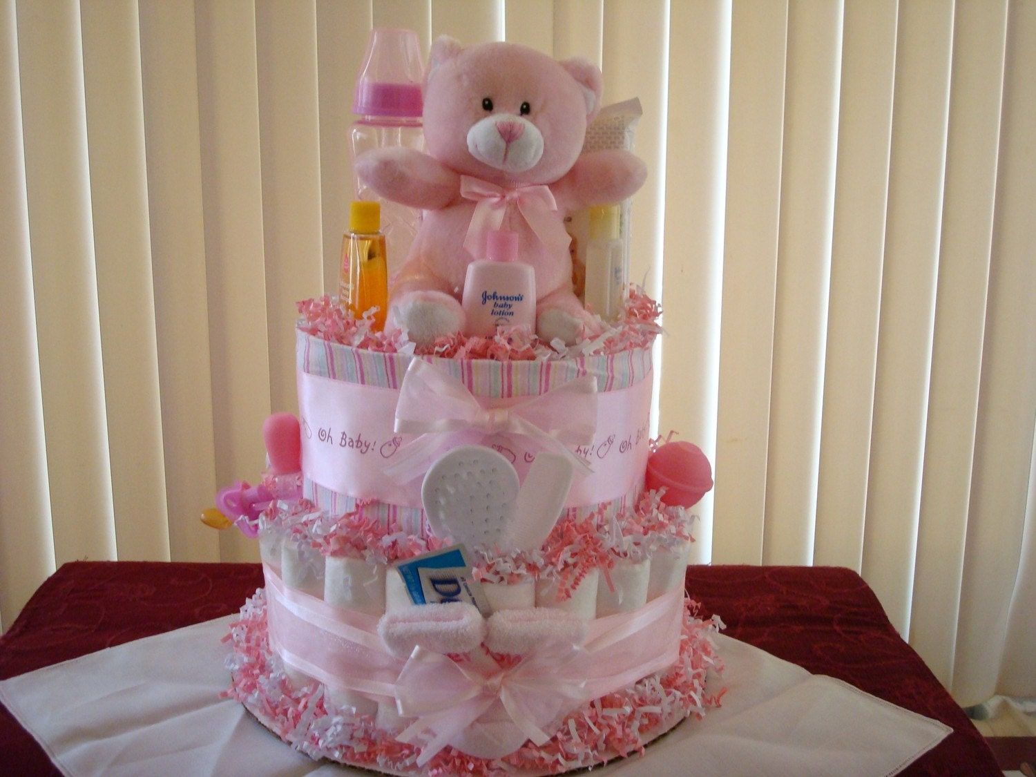 baby girl diaper cake pink and white