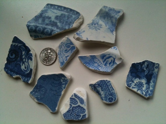 Blue & White Irish Sea/Beach Pottery Shards (9)