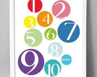 """Printable Wall Art - Color Dot Numbers - 8.5""""x10"""""""