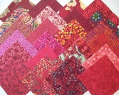 Robust Red Charm Pack --24 Different Fabrics Cut 5 inch x 5 inch