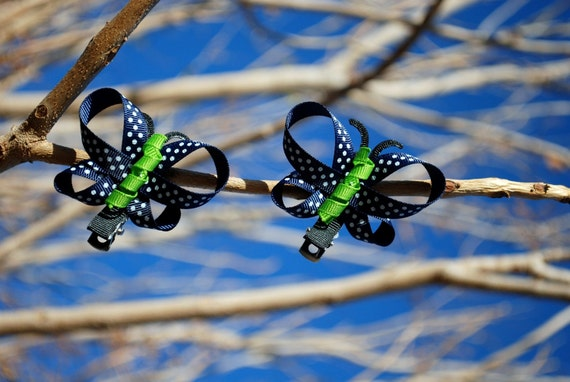 Pair of 2 Navy Blue with green body Butterfly Hair Clips