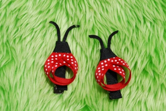 Pair of two Red Ladybug Hair clips