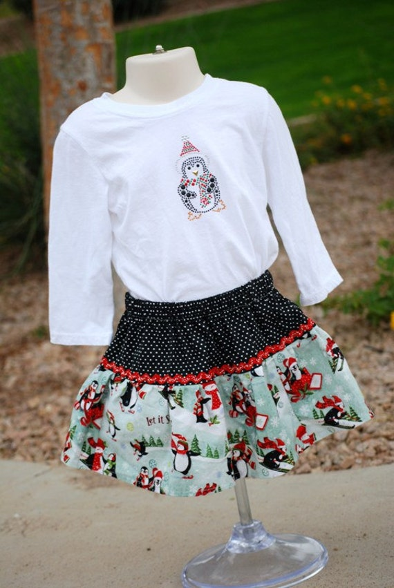 CLEARANCE SALE Christmas Twirl Skirt and shirt featuring penguins, size 2T