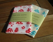 Set of 2 hand screen printed tea towels - Toadstools