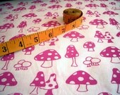 Toadstools v.2 - hand screen printed large quarter - Fuchsia Pink on White