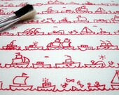 I Saw Some Ships A-Sailing - hand screen printed skinny quarter -  Pillar Box Red on White