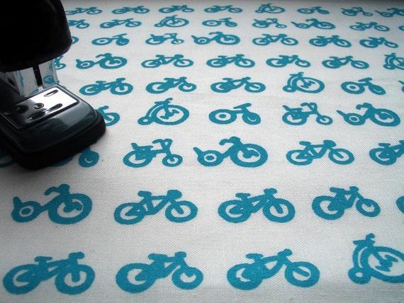 Multi Bike - hand screen printed skinny quarter - Turquoise on White