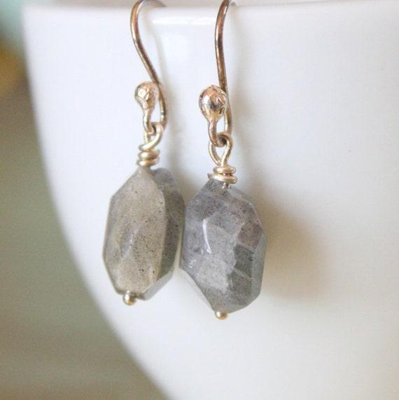 Labradorite Nugget Sterling Silver Earrings