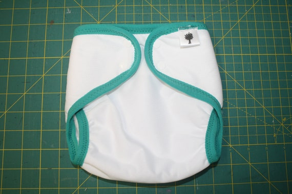 Large- Reusable Cloth Swim Diaper- White and Green