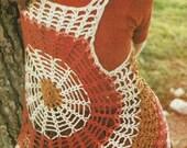 INSTANT DOWNLOAD PDF Vintage Crochet Pattern   Cobweb Circles Waistcoat Vest    Retro