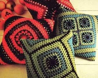 INSTANT DOWNLOAD PDF Vintage Crochet Pattern   Granny Squares Cushion Pillow Cover  Retro