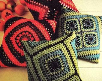 INSTANT DOWNLOAD PDF Vintage Crochet Pattern   Granny Squares Cushion Pillow Cover  Retro