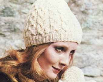INSTANT DOWNLOAD PDF Vintage Knitting Pattern   Aran Hat and Mitts Gloves Beanie