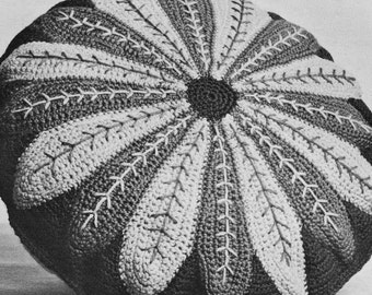 INSTANT DOWNLOAD PDF Vintage Crochet Pattern    Circular Flower  Cushion Pillow Cover  Retro