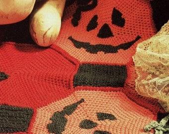 INSTANT DOWNLOAD PDF Vintage Crochet Pattern  for Halloween Pumpkin Afghan Throw Blanket Retro
