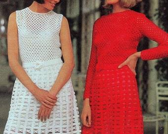 INSTANT DOWNLOAD PDF Crochet Pattern  Mini Dresses with Rosette Belt  Retro Vintage