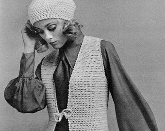 INSTANT DOWNLOAD PDF Crochet Pattern  Vest Waistcoat Tunic and Beret    Vintage Retro