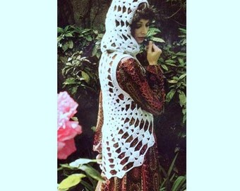 INSTANT DOWNLOAD Vintage Crochet Pattern   Cobweb Waistcoat Vest with Hood    Retro