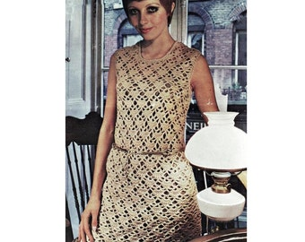 INSTANT DOWNLOAD PDF Vintage Crochet Pattern   Gold Mini Dress  Tunic Retro