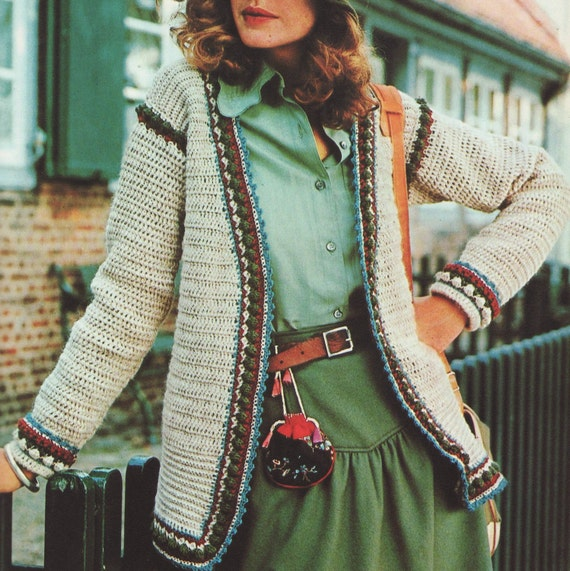 Crochet Stitch Jacket : ... PDF Vintage Crochet Pattern Puff Stitch Border Cardigan Jacket Retro