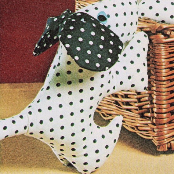 INSTANT DOWNLOAD PDF Vintage Sewing Pattern    Spotty Puppy Dog Toy   Retro