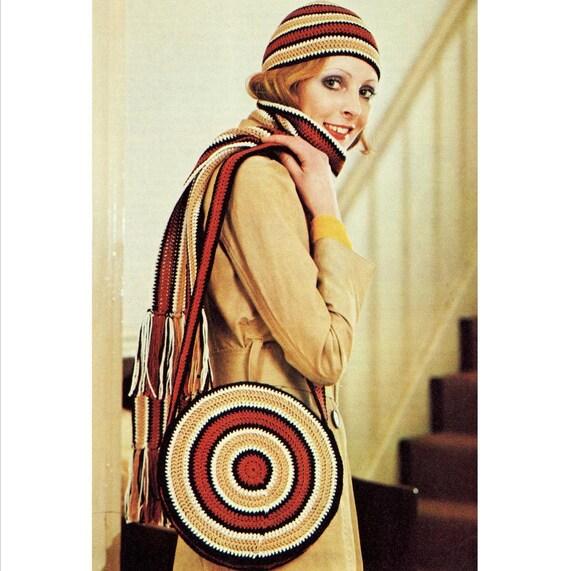 INSTANT DOWNLOAD PDF Vintage Crochet Pattern  Hat Scarf and Bag Set Retro