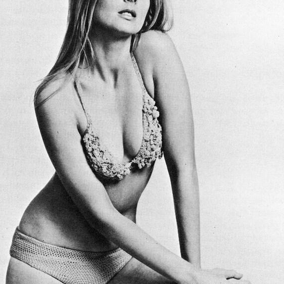 INSTANT DOWNLOAD PDF Crochet Pattern   Floral Motif Beaded Bikini  Vintage Retro