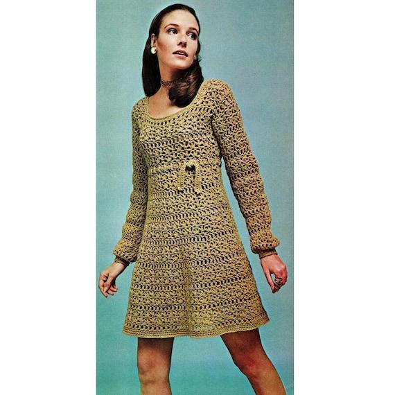 INSTANT DOWNLOAD PDF Vintage Crochet Pattern   Empire Mini Dress   Retro