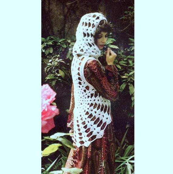 INSTANT DOWNLOAD Vintage Crochet Pattern   Cobweb Waistcoat Vest with Hood    Retro