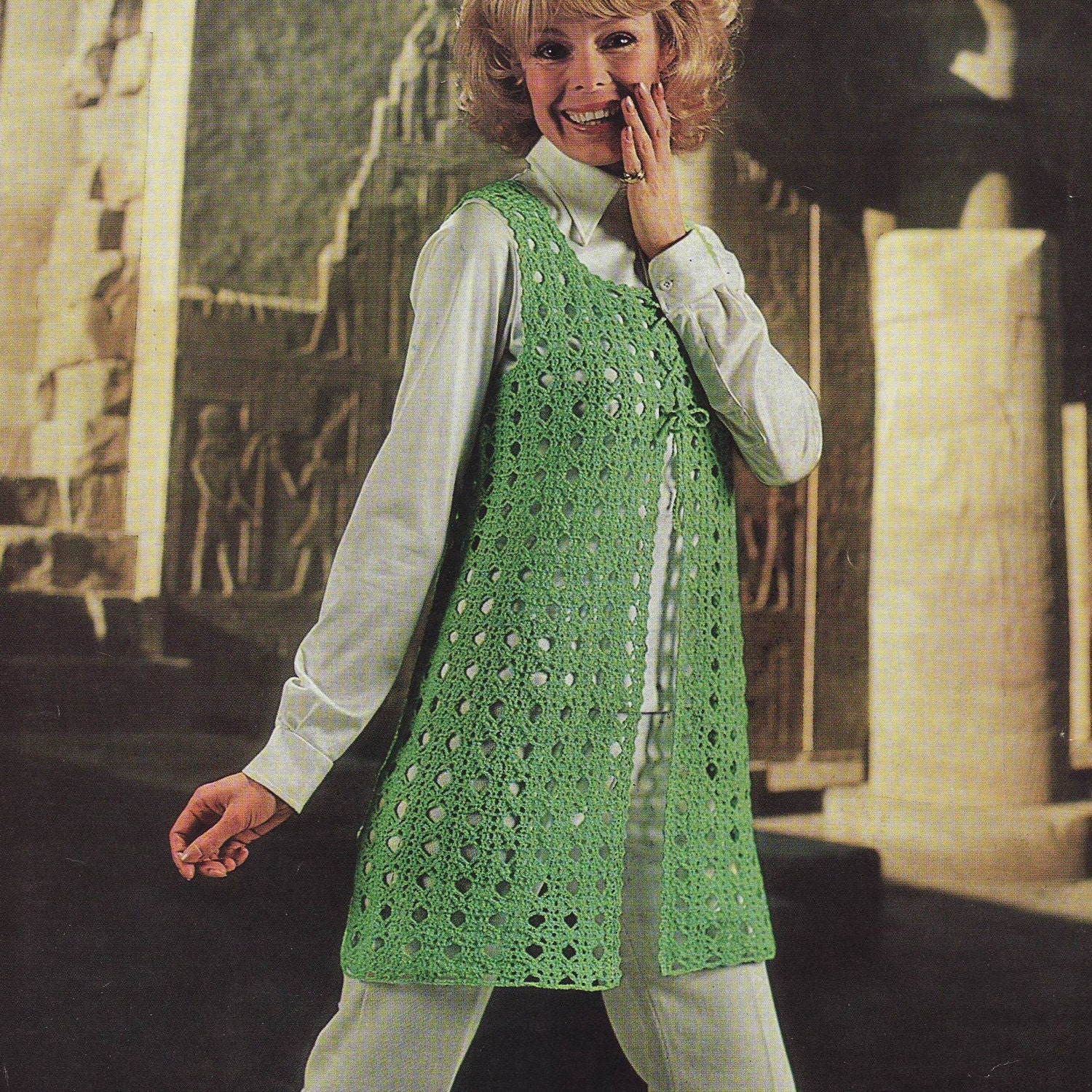 Free Crochet Pattern Tunic Vest : INSTANT DOWNLOAD PDF Vintage Crochet Pattern 1970s Tunic