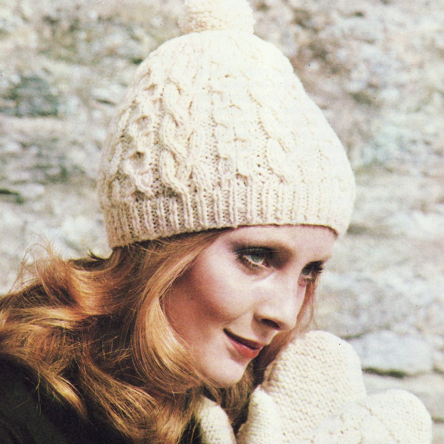 Knitting Pattern Vintage Hat : INSTANT DOWNLOAD PDF Vintage Knitting Pattern Aran Hat and