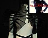Cosplay Black Tulle Shoulder Bolero Shrug Wrap with Satin Ribbon Moulin rouge Burlesque collar