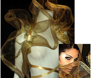 Ready to ship Halloween Amazing Burlesque Net foil thread mesh Bolero Shrug GOLDEN Fashion vault