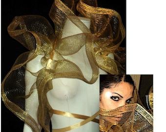 Halloween Sale Amazing Net foil thread mesh Bolero Shrug ...GOLDEN...