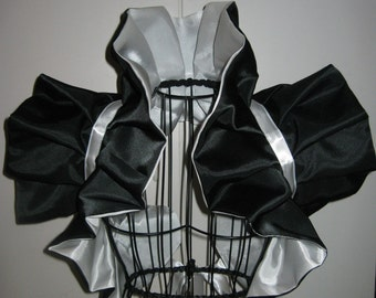 Cosplay Handmade Amazing Bolero Shrug Emo Moulin rouge  Wedding Bridesmaids   White and Black