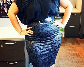High Waist Pencil skirt Loving DAMASK Goth