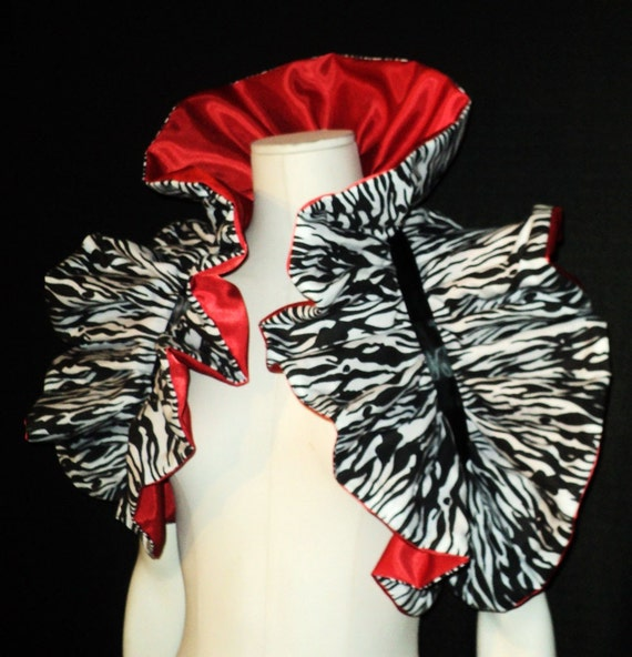 High Drama Emo Bolero Shrug Bothic ...Zebra/Red... Reversible