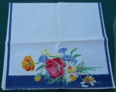 Vintage Blue Floral Dish Towel Free Shipping