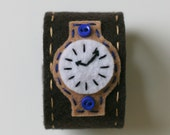 RESERVED LISTING FOR ERIN: boys felt watch- brown and blue