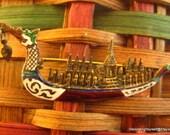 1930s Siam (Thailand) Sterling Dragon Boat Brooch Emperor's Ship