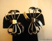 Vintage Ribbon Earrings Sterling Silver 925 6g Screw On