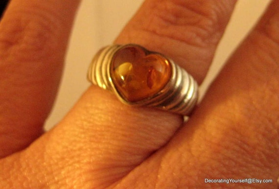 Heart Shaped Amber Sterling Silver Ring Size 8   925