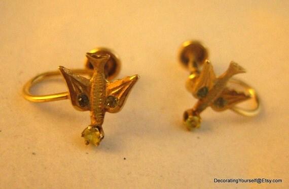 10k Solid Yellow Gold Bird Sterling Earrings Screw On Back
