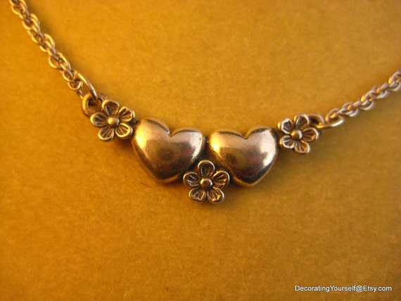 James Avery Hearts and Flowers Choker Necklace Sterling Silver 16 Inches Long Retired